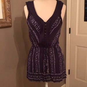 Ecote purple/Lilac boho Romper tie waist tassels